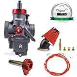 NIBBI Motorcycle Carburetor GY6 Performance Part PE28mm Carburetor Kit With 150 Scooter Throttle Cable 185cm Carburetor Jets Replacement Air Filter 48mm Fit 150 180 Kycom TaoTao GY6 Scooter Moped ATV