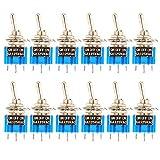Gebildet 12 pièces MTS-103 Mini Interrupteur à Bascule 125VAC 6A on/Off/on SPDT, Micro Interrupteur à Levier 3 Broches 3 Position, Connexion Unique