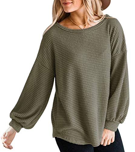 MEROKEETY Womens Long Balloon Sleeve Waffle Knit Tops Crew Neck Oversized Sweater Pullover, Olive, L