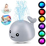 Baby Bath Toys,Whale Bath Toys for Toddlers Auto Water Spray Toy with LED Light,Induction Shines Sprinkler Fountain Baby Shower Bathtub Toy Squirt Water Toy,Ideal Gifts for Boys Girls (Gray)