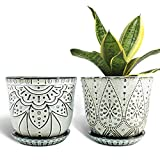 Gepege 6 Inch Beaded Ceramic Planter Set of 2 with Drainage Hole and Saucer for Plants, Indoor-Outdoor Large Round Succulent Orchid Pot (Smoked White, for Inner-pots not Larger Than 5 Inch)