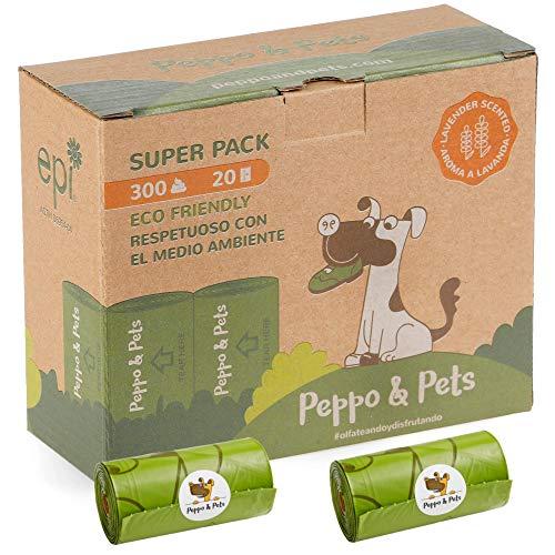 Peppo and Pets- 300 Bolsas Caca Perro - 20 Rollos- Biodegradables- Muy Resistentes - Olor a Lavanda- Opacas- A Prueba de Fugas 🔥