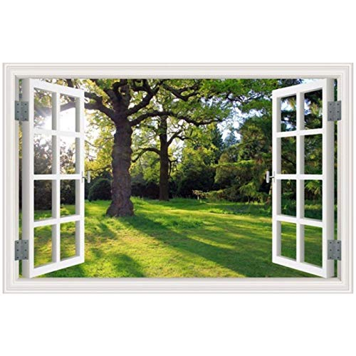 Canvas Painting Forest Tree Landscape Scenery The Window 3D Wall Art Picture Print and Poster Living Room Home Decor