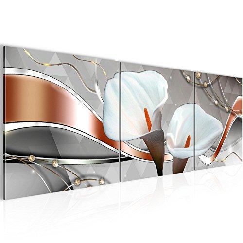 Wandbild Blumen Calla Bilder 120 x 40 cm Vlies - Leinwand Bild XXL Format Wandbilder Wohnzimmer Wohnung Deko Kunstdrucke Braun 3 Teile - MADE IN GERMANY - Fertig zum Aufhängen 008233a