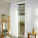 Cortina de gasa blanca para telón de fondo de 1,2 x 2,2 m, 2 paneles de gasa blanca de 29 x 2,3 m, para sala de estar, telones de fondos de tela de gasa para fotografía(29 x 96 pulgadas), color blanco