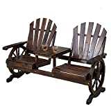 Wooden Wagon Wheel Bench, Lawn Garden Patio Seating Benches, Rustic Outdoor Patio Furniture, 2-Person Seat Chair Bench with Small Table