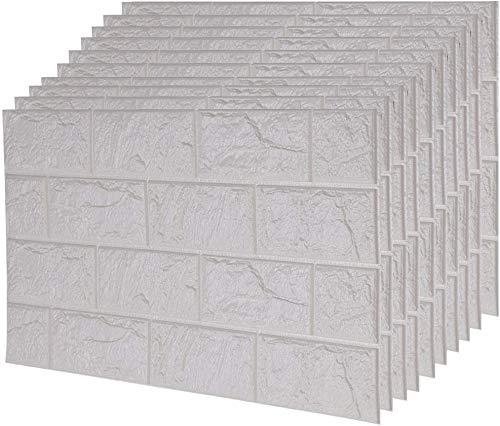 Ballshop 10pcs Stone Brick Pattern PE Foam Wall Sticker Brick Paste Wallpaper 3D Waterproof Moisture-proof and Mildew-proof Brick Grain Wall Paper Background 60X30CM White