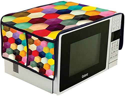 DECORHUT FAB BLUEDOT 1 pcs. Digital Printed Jute Microwave Oven Cover with 4 Pocket, Multicolor (37 cm X 91 cm)