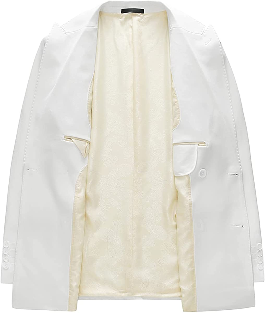 Mens Suits Slim Fit 3 Piece Formal Double Breasted Jacket Blazer Vest Pants Set Prom Wedding Tuxedo Suits