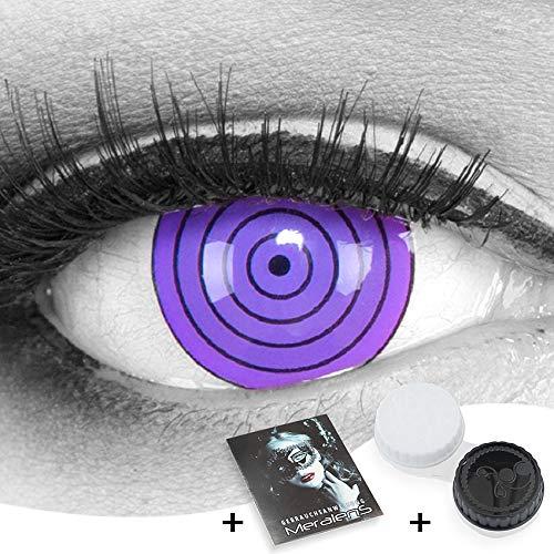 Funnylens 1 Paar farbige 17mm Crazy Fun violet rinnegan Jahres Kontaktlinsen. perfekt zu Halloween, Karneval, Fasching oder Fasnacht mit gratis Kontaktlinsenbehälter ohne Stärke!