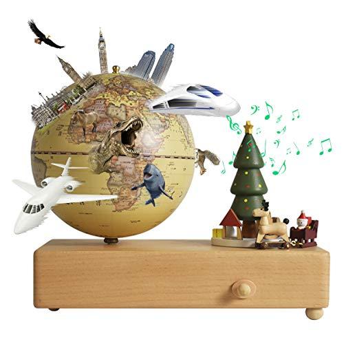 地球儀 子供 しゃべる地球儀 日本語 球径13cm 3Dで学べる 4WAY「ジングルベル」オルゴール 飾り品部分が動く LEDライト付き 知育玩具 ベッドサイドランプ 行政タイプ 真珠フィルム ムーディー 防水 先生おすすめ 新入学のお祝いに プレゼント(