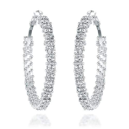 Gemini Women's Silver Plated Cubic Zirconia Big Hoop Party Wedding Earring Gm008 1.5 inches