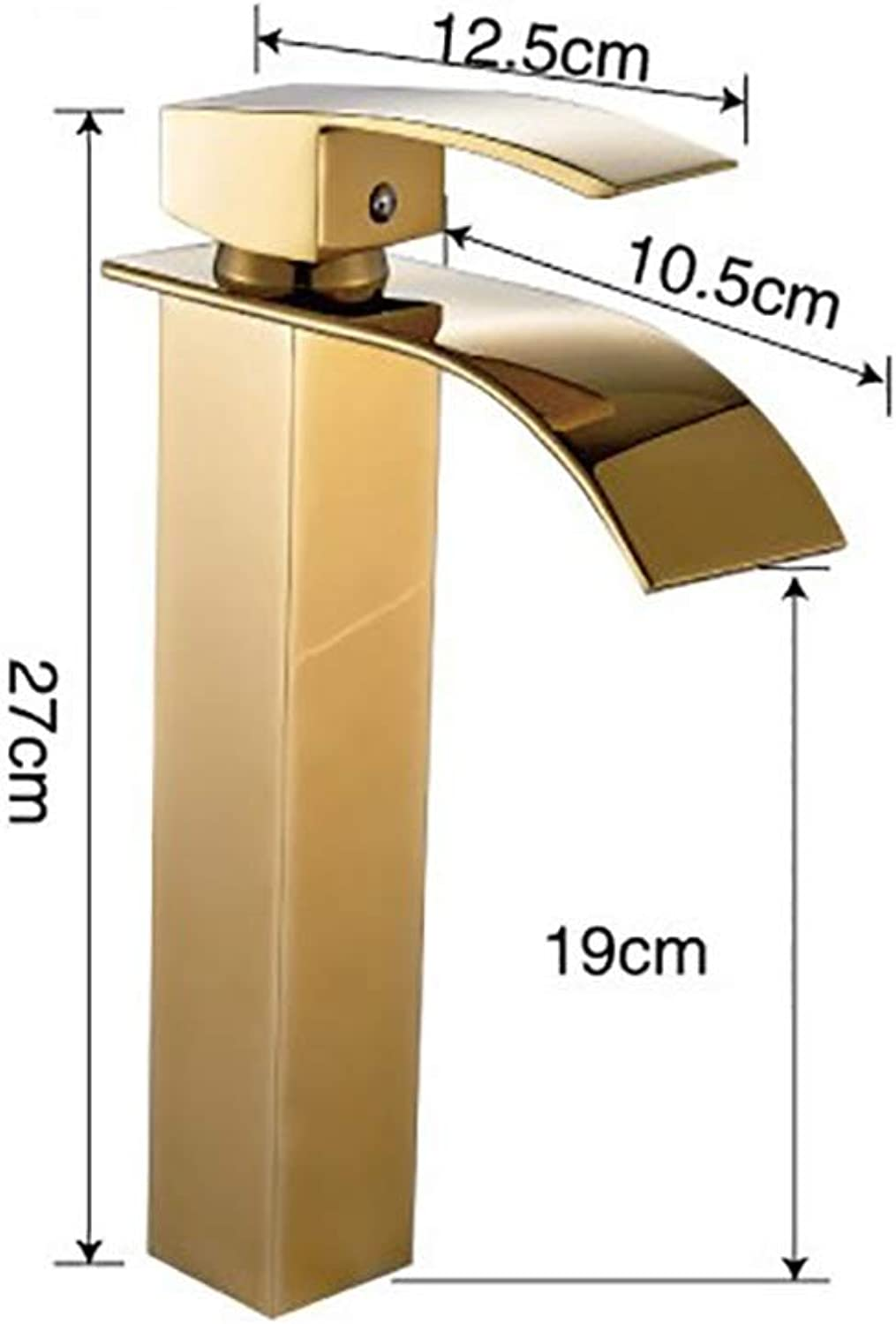 YYF-FAUCET Basin Tap Retro Waterfall Faucet All Bronze redatable Cold hot Mixing Bathroom Kitchen, Ceramic Spool (color   gold, Size   High)