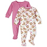 The Children's Place Baby and Toddler Girls Monkey Snug Fit Cotton One Piece Pajamas 2-Pack, Cameo, 2T