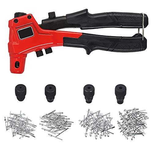 Remachadora Manual Pistola Remachado 20cm Con 200 Remaches Boquillas Cambiables 2.4/3.2/4.0/4.8mm Remachadora Ergonomica Profesional Herramientas de Reparación para Metal Madera – Rojo