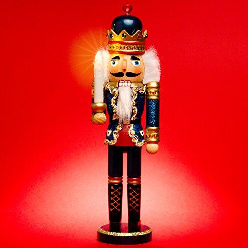Sikora NK-C aufwändig gestalteter XL Deko Nussknacker aus Holz mit LED Kerze und Fernbedienung, Größe:Höhe ca. 40 cm, Farbe/Modell:C02 blau - KÖNIG