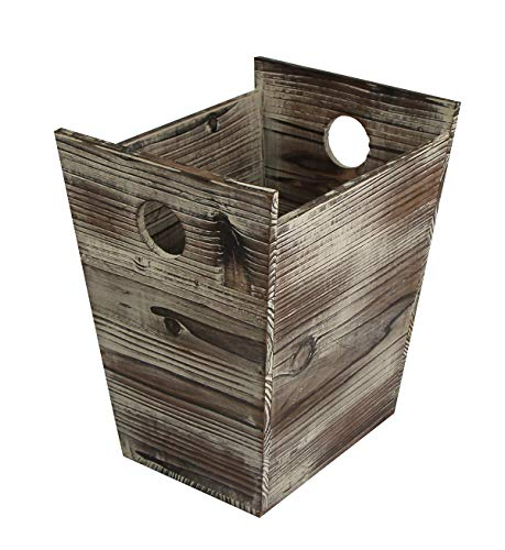 J JACKCUBE DESIGN Rustic Farmhouse Style Wastebasket Bin with Handle Trash Can Decorative Wood for Bathroom, Kitchen, Office, Dorm Room, Laundry - MK575A