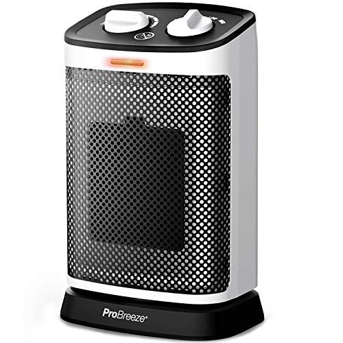 Pro Breeze Calentador de Cerámica Oscilante de 1500W – Oscilación de 70°,Termostato Ajustable, 6 Modos de Operación, Protección contra Sobrecalentamiento y Volcado. Para el Hogar y la Oficina.