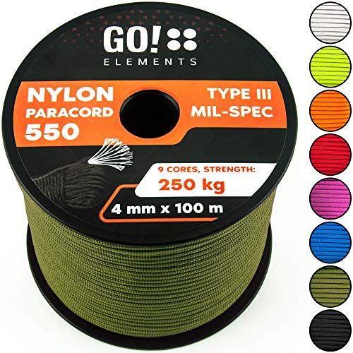 GO!elements 100m Paracord de Nylon a Prueba de desgarros - 4mm Paracord 550 Typo III Cuerda - Adecuado como Cuerda Yute & Cuerda Gruesa | MAX. 250kg, Color:Oliva