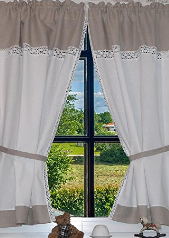 Landhaus Gardinen Set 100% Leinen Baumwolle 2 St + 2 2 2 Bindebänder Weiß Grau mit Spitze 120x80cm Gesamt 160cm breit Greta B072N5LLSR d1438e