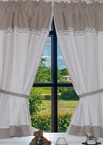Landhaus Gardinen Set 100% Leinen 2 St + 2 Bindebänder Weiß/Grau mit Spitze 140x80cm/Gesamt 160cm breit Greta