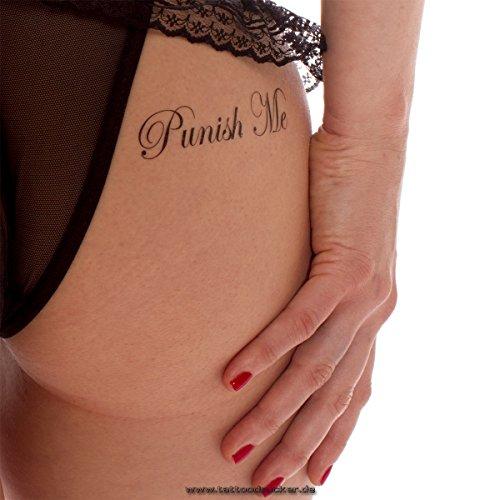 5 x Punish Me und Fuck Me Tattoo Schriftzug in schwarz - Sexy Kinky Tattoo (5)