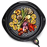 """Elite Gourmet EMG-980B Large Indoor Electric Round Nonstick Grill Cool Touch Fast Heat Up Ideal Low-Fat Meals Easy to Clean Design Dishwasher Safe Includes Glass Lid, 14"""", Black"""