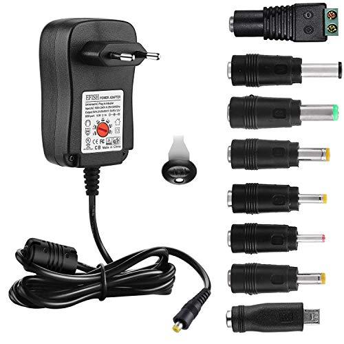 EFISH Adaptador Multifuncional Universal DC Power Supply,Adaptador de CA 100-240V a 3V/4.5V/5V/6V/7.5V/9V/12V- MAX 2A(2000mA) Adaptador de Viaje,CE/GS Aprueba+8 Enchufes Diferentes(Micro USB incluido)