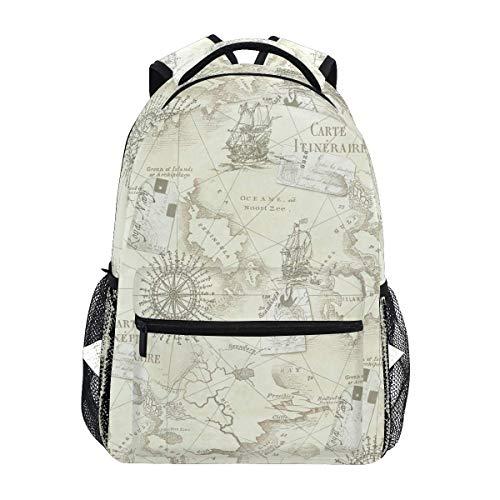 Männer/Frauen Tagesrucksack,Schultasche,Junge/Mädchen Rucksack,Büchertasche,College Reiseeucksack,Outdoor REIT Reise,Antike Seekarte