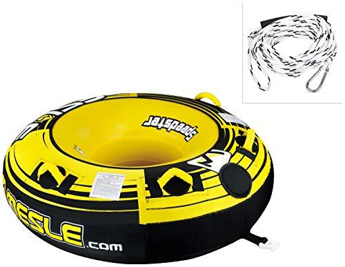 MESLE Tube Package Speedster 58'' gelb, mit 2P Schleppleine, Towable-Tube, Fun-Tube, 147 cm Donut Wasser-Reifen, gelb-schwarz-weiß, 1-2 Personen, 840 D Nylon, Luxus-Tube, Boston Ventil