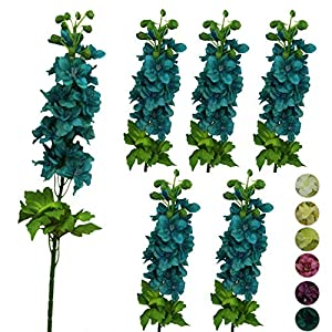 Lily Garden 6 Stems 31″ Artificial Delphinium Ajacis Silk Flowers (Blue)