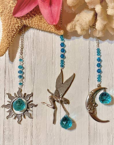 Rear View Mirror Crystal Car Charm Sun Catchers, Pewter Moon, Fairy or Sun Window Sun Catchers with Turquoise Crystals Window Ornament, Turquoise Crystal Ball Prism Suncatcher,Feng Shui Rainbow Maker
