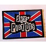 Hotrodspirit – Patch Sex Pistolen rechteckig Union Jack 8,5 x 6 cm Aufnäher zum Aufbügeln Jacke Hemd