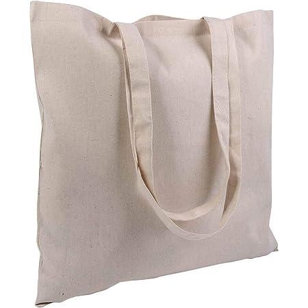 STOCK 10 PEZZI borsa shopper cotone spesa 38x42 manici lunghi cotone NATURALE