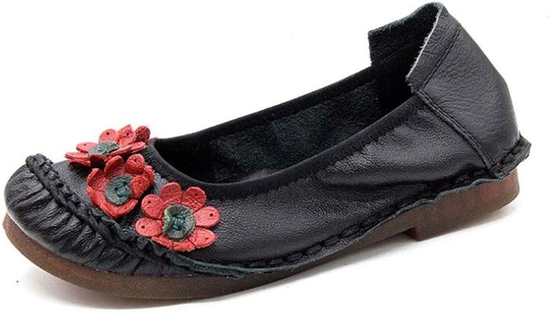 Fancyww Womens Round Toe Flats Oxford Dress Flower shoes