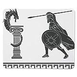 Yanteng Gaming Mouse Pad Toga Party, Escena mitológica Ancient Hero y Dragon Hellenic Legend Fantasy Decorativo, Gris Charcoal Gris Cosido Blanco Borde