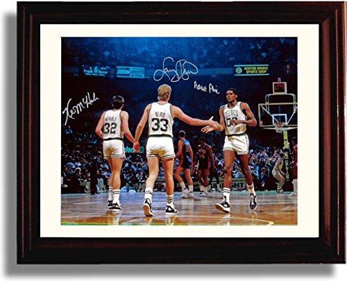 Framed Boston Celtics Big Three Larry Bird, Kevin McHale, Robert Parish Autograph Replica Print