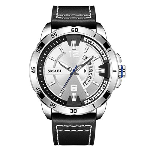 JTTM Reloj De Hombre Cronógrafo Analógico De Cuarzo Reloj De Pulsera Impermeable para Negocios con Correa De Cuero,Plata