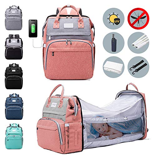 6-in-1 Diaper Bag Backpack with Changing Station - Large Capacity Durable Waterproof Bag - Foldable Bassinet with Mosquito Net Sunshade, Insulated Pockets, Built-in USB & Stroller Straps for Traveling