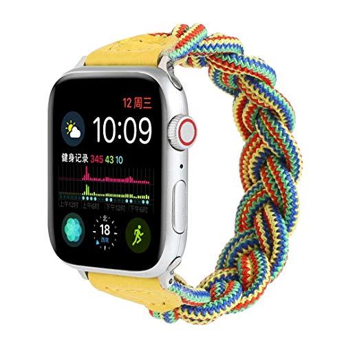 FuNiang Geflochtenes Solo Loop Kompatibel mit Apple Watch Armband 38mm 40mm 42mm 44mm,Dehnbare Verflochtenen Silikonfasern Sport Ersatzband für Nylon Band für iWatch Serie 6/5/4/3/2/1,SE,Damen,Herren