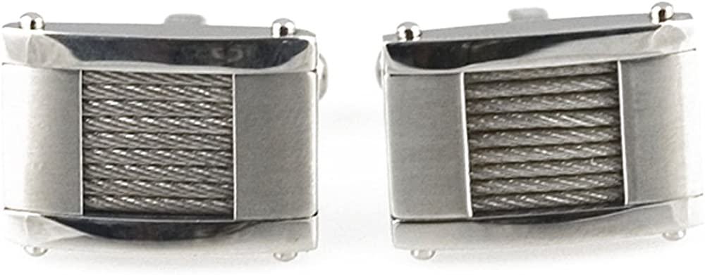 Starborn Creations Stainless Steel Cable Pattern Cuff Links