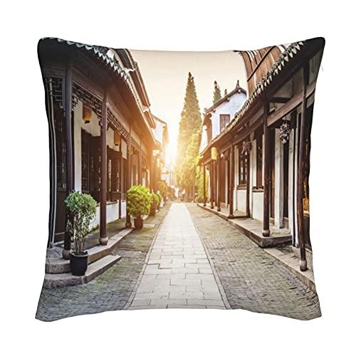 Mxswru Funda de cojín de terciopelo retro con diseño de ciudad vieja europea al atardecer con funda de almohada decorativa cuadrada de 50,8 x 50,8 cm, para cama, sofá con cremallera invisible