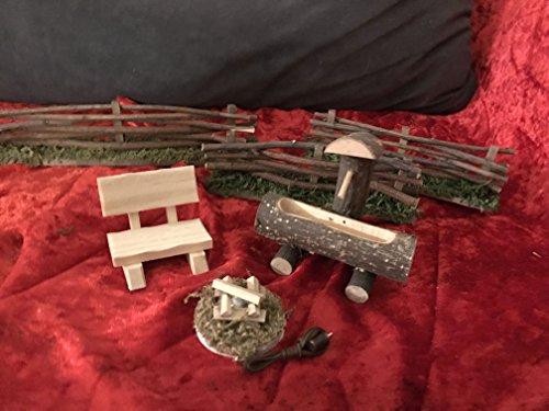 Krippen Zubehör,Set, Feuerstelle,3,5 V.,Brunnen, 3 Zäune und Bank für Figurengröße von 10-14 cm