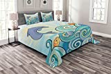 ABAKUHAUS Meerestiere Tagesdecke Set, Cartoon Delphin-Ozean, Set mit Kissenbezügen Ohne verblassen, für Doppelbetten 220 x 220 cm, Mehrfarbig