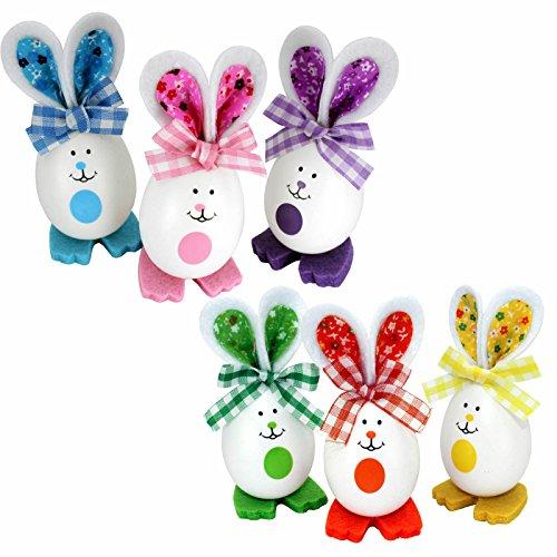 Kleenes Traumhandel Set mit 6 Ostereier Hasen in lustigem Design als Osterdeko -