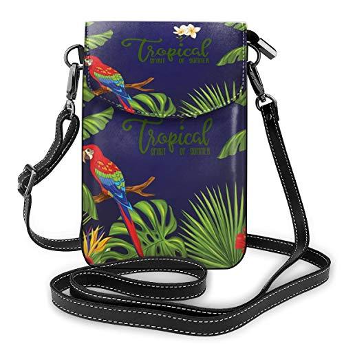 Generic Kleine Umhängetasche für Handys mit tropischen Blumen und Pflanzen und Papagei, PU-Leder, Handtasche mit verstellbarem Riemen für den Alltag