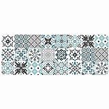 douceur d'intérieur tapis rectangle 45x120 cm mousse salou bleu