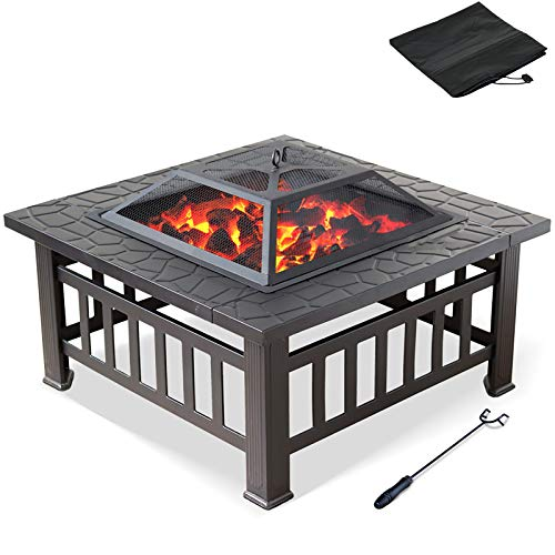 Garden Metal Firepit with BBQ Grill, 32 inch Log Coal Heating Stove Square Backyard Fire Pit Table, Home Mult Heated Burning Fireplace, Black