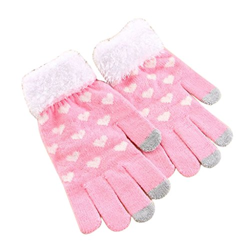 JOYKK Frauen Herz Muster Dicke 3 Finger Touchscreen Knit Stretch Glovess Winter Warm - Pink