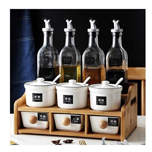 Buy CQIANG Household Kitchen Combination Ceramic Glass Seasoning Jar Set (Design : G)